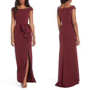 Vince Camuto WINE Bow Ruffle Scuba Crepe Gown 12